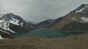 Landscape of mountains,lake and valley in Santiago Chile. Landscape of mountains, snow and valley in Santiago Chile stock video