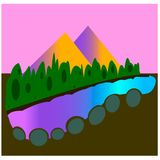 Landscape of mountains and lakes.  vector illustration