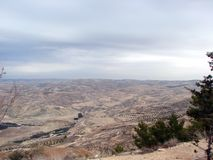 Northern part of Jordan. Moses mountain Nebo. Panorama from bird`s-eye view. The landscape of the mountains of Moses, those lands which at one time God gave to royalty free stock photos