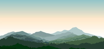 Landscape with mountains. Nature background. Hills of coniferous stock illustration