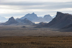 Landscape with mountains near Langjokull, central Iceland royalty free stock photography