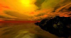 Landscape with mountains, palms and sunset sky. Wilderness nature.3d generated Stock Image