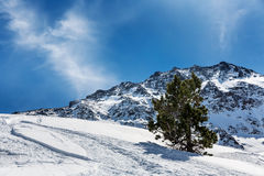 Landscape of the mountains in Pyrenees. Beautiful landscape mountain massif in the Pyrenees on ski resort Royalty Free Stock Photography