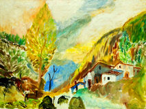 Landscape in mountains Pyrenees, painting Royalty Free Stock Photography