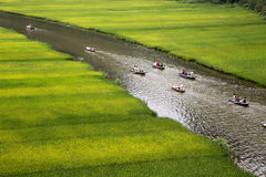 Landscape with mountains, rice fields and river.  Royalty Free Stock Photography
