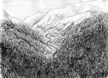 Landscape with mountains and river. Landscape with mountains coveres with forest and river snaking between them. Pencil drawing, sketch Stock Photo
