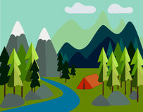 Landscape with mountains, river, forest and tourist tent Royalty Free Stock Photography