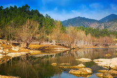 Landscape with mountains river. In sunny  day.  Muga, Catalan Pyrenees Stock Photos