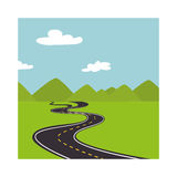 Landscape with mountains and road way Royalty Free Stock Photography
