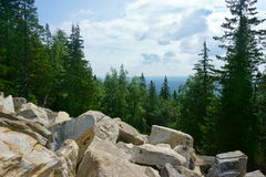 Landscape, mountains, sky, forest, stones Stock Image