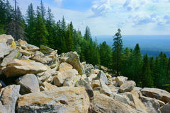 Landscape, mountains, sky, forest, stones Royalty Free Stock Photos