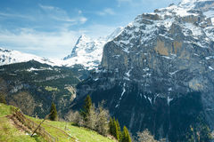 Landscape. Mountains in the snow against blue sky Stock Image