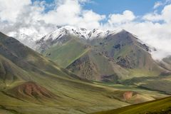 Landscape of mountains with snow peaks, Tien Shan Royalty Free Stock Images