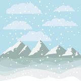 Landscape of mountains and snowing design. Mountains with clouds and snowing. Landscape and merry Christmas season theme. Background design. Vector illustration Royalty Free Stock Photos