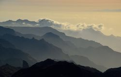 Landscape of mountains. Southwest of Gran canaria, Canary islands Stock Photography
