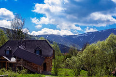 Landscape of mountains and suburban life Royalty Free Stock Photo