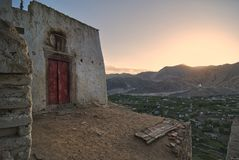 Landscape mountains with sunlight before sunset in Leh ladakh stock photography