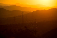 The landscape of mountains at sunset. Royalty Free Stock Photos