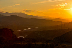 The landscape of mountains at sunset. Georgia Royalty Free Stock Image