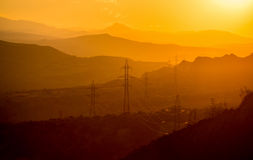 The landscape of mountains at sunset. Georgia Stock Photography