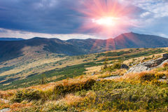 Landscape in the mountains at sunshine. Stock Image
