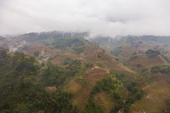 Landscape with mountains and terraced rice fields of Sa Pa royalty free stock photo
