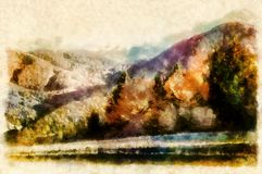 Landscape with mountains and trees, aquarel and computer effect. Landscape with mountains and trees, aquarel and computer effect royalty free stock photo
