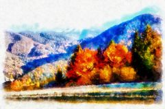 Landscape with mountains and trees, aquarel and computer effect. Landscape with mountains and trees, aquarel and computer effect royalty free stock images