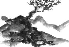 Landscape with mountains and trees, hand drawn with ink. Traditional Japanese ink painting sumi-e. Royalty Free Stock Photography
