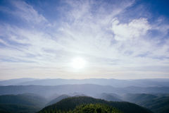 The landscape of mountains under sky with clouds Royalty Free Stock Photography