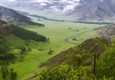 Altai: mountains valley road Stock Photography