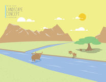 Landscape mountains view and animal. On a clear day flat vector. Royalty Free Stock Photos