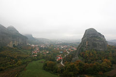 Landscape of the mountains and village houses of Meteora, Greece Royalty Free Stock Images