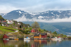 Landscape with mountains.  village in Norwegian Stock Image