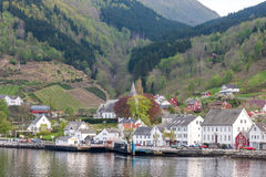 Landscape with mountains.  village in Norwegian Royalty Free Stock Photo