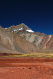 Landscape with mountains and volcanic ground Royalty Free Stock Images