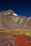 Landscape with mountains and volcanic ground Royalty Free Stock Image