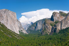 Landscape with mountains and waterfall in Yosemite Royalty Free Stock Photography