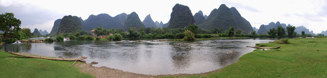 Landscape,mountains in Yangshuo and River Lee Royalty Free Stock Photo