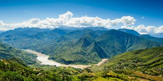 landscape with mountainside and changjiang river in highland royalty free stock photography