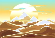 Landscape with  mounts. Ice, snow, water, sun and clouds in decorate style Royalty Free Stock Photos