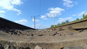 Landscape movement of clouds on the blue sky railroad road stock footage