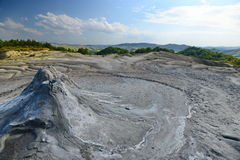 Landscape with mud volcanos and mountains Royalty Free Stock Images