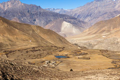 Landscape of Muktinath village in lower Mustang, Nepal Royalty Free Stock Photo