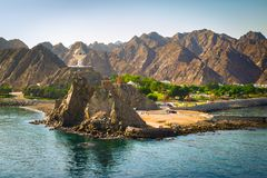 Landscape of Muscat, Oman with  Muttrah incense burner, Middle East. Stock Images