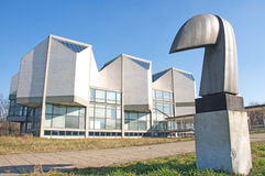 Landscape of Museum of Contemporary Art in Belgrade. Landscape of the beautiful modern building of the Museum of Contemporary Art in Belgrade with an abstract royalty free stock image