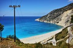 Landscape of Myrtos beach, Kefalonia, Ionian islands Royalty Free Stock Photo