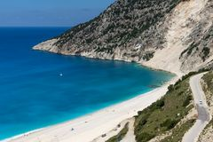 Landscape of Myrtos beach, Kefalonia, Ionian islands, Greece Stock Image