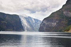 Landscape in Norway. Landscape with Naeroyfjord and high mountains in Norway Stock Photography