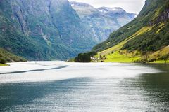 Landscape in Norway. Landscape with Naeroyfjord, mountains and traditional village in Norway Royalty Free Stock Photography